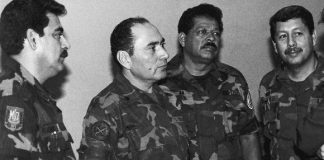 Inocente Orlando Montano, third from the left, was among a group of Salvadoran army commanders who ordered the execution of six priests in 1989.