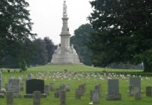 Soldiers National Monument at the center of the Gettysburg National Cemetery.