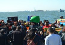 Rally held at Battery Park, in Manhattan.
