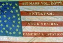 The battles emblazoned on the flag of the 35th Massachusetts regiment reduced it to near non-existence by August 1864.