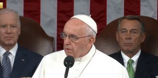This is the first time in history that a Pope address a joint session of Congress.