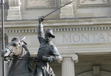 Thomas Francis Meagher's statue outside of the Montana State Capitol.