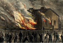 White mob burning a school for freed slaves in Memphis in 1866.