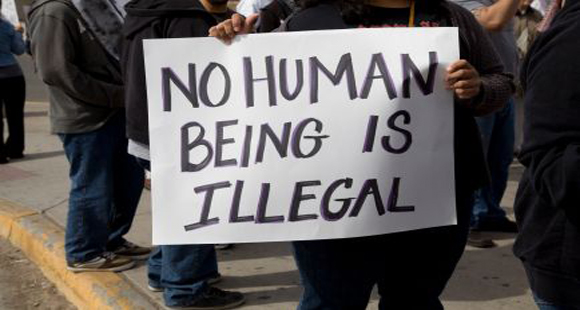 Protest sign from an Immigration Policy rally. Sign reads