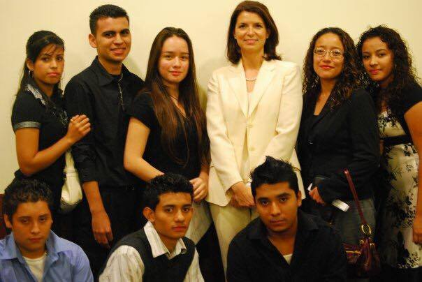 Casas and students from Freeport and Uniondale, during a ceremony at the Nassau County Legislature in 2009.