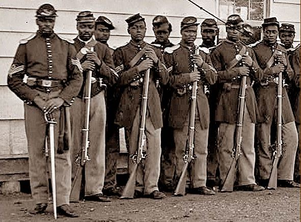 an introduction to the history of black soldiers in the union army during the civil war By the end of the civil war, one out of every eight union soldiers was a black man this image is symbolic because the soldiers stand in front of a location where black slaves were held for auction, stripped, examined, and bought and sold before interested purchasers.