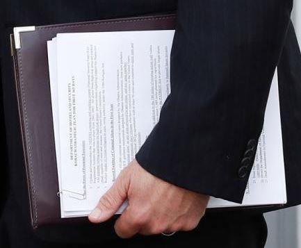 Blow-up of Kobach's immigration briefing document.