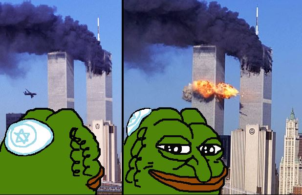 Pepe is sometimes used to convey the image that Jews were behind the 9-11 attacks.