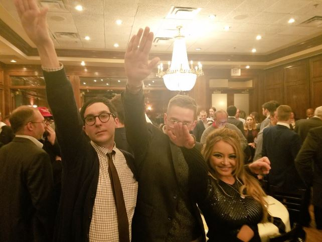 Tila Tequila at last weekend's Alt-Right conference giving the Nazi salute.